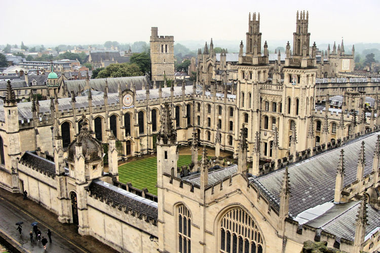 View on the Oxford campus from above
