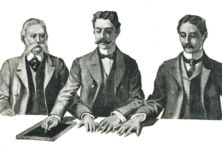 Victorian men with slate