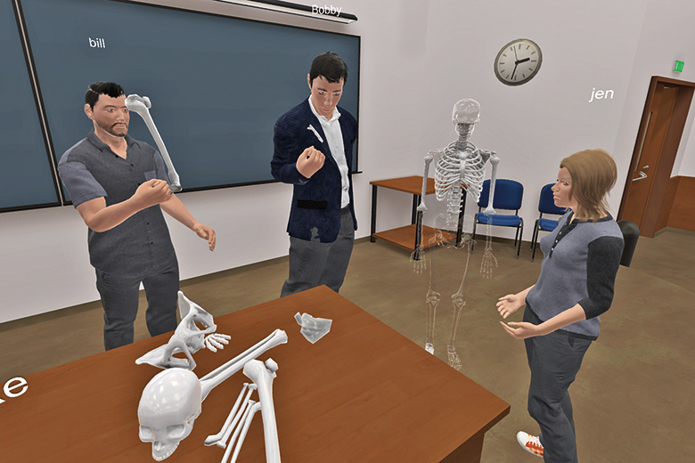 VR image of students inspecting a skeleton
