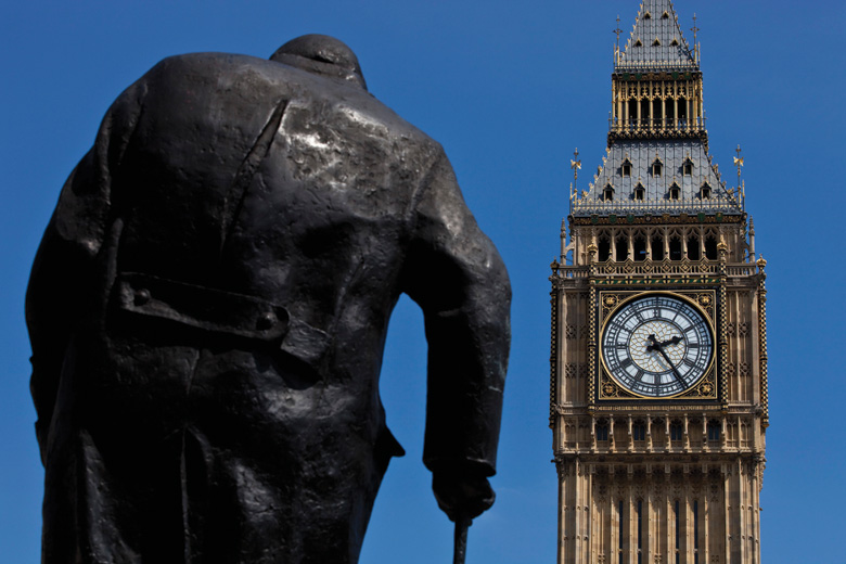 Winston Churchill statue and Big Ben, London