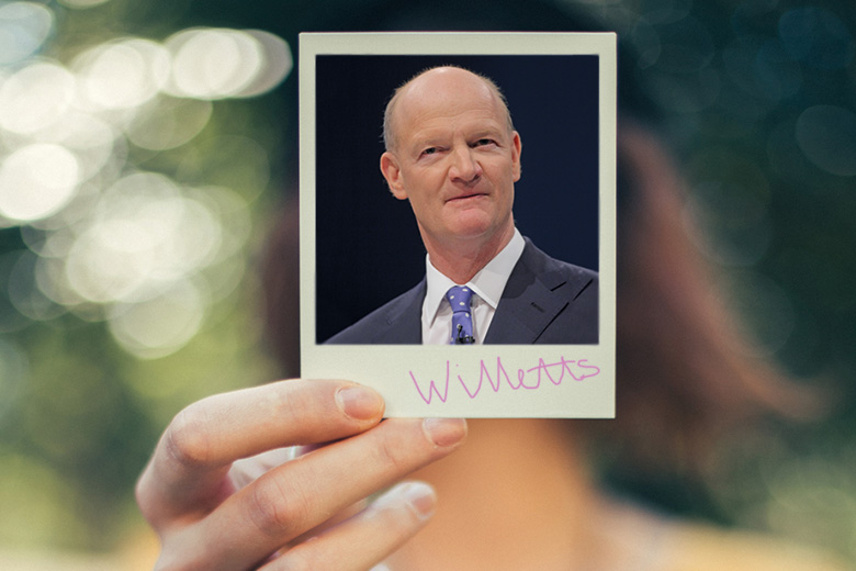 Woman holding David Willetts photo