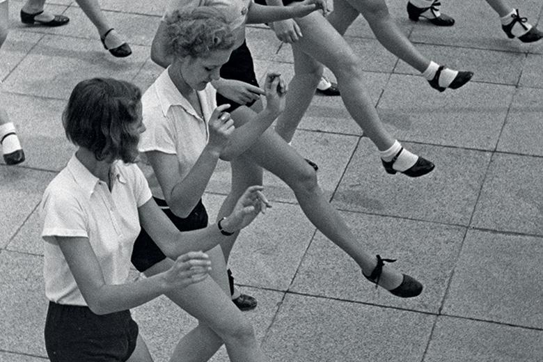 Women line dancing