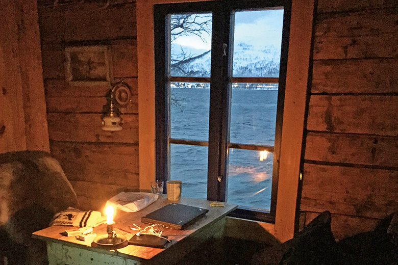 Writing desk in cottage in Norway