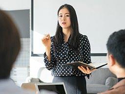 A lecturer teaching a class
