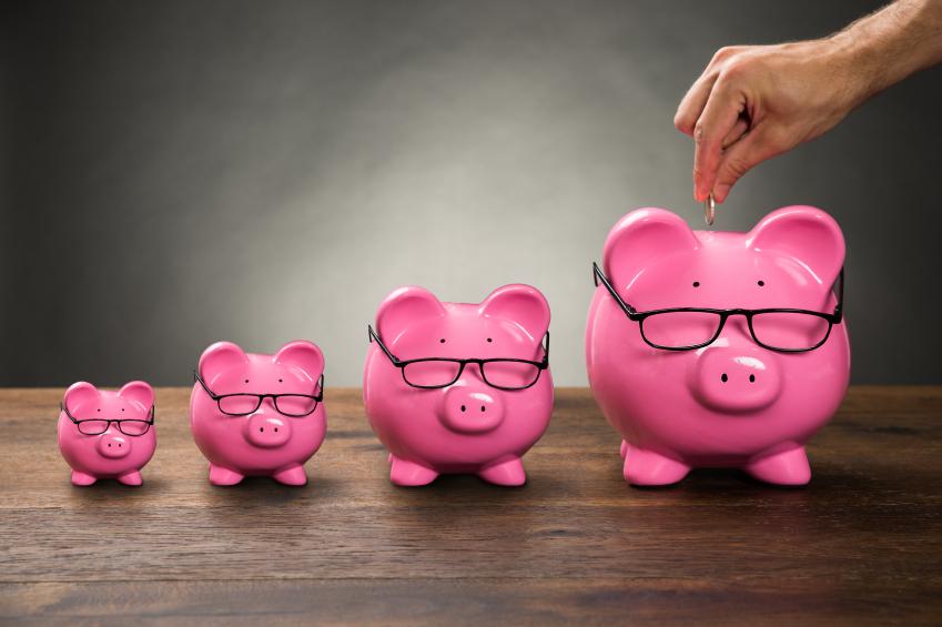 Putting money in piggy banks